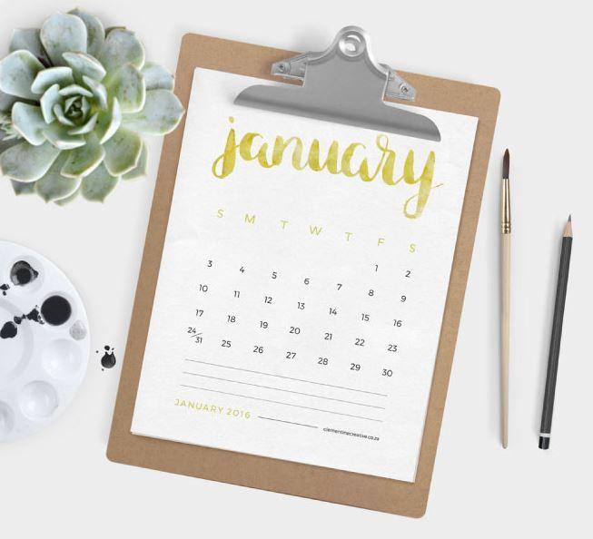 Free Printable Calendar 2016